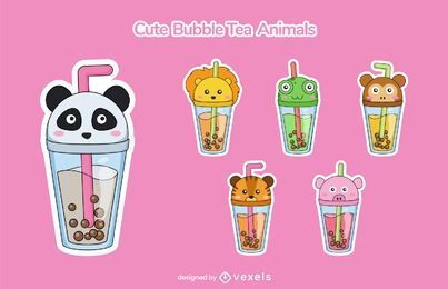 Cute bubble tea animal cup set