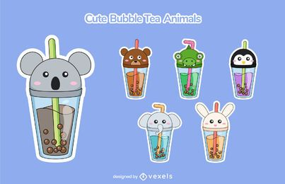 Conjunto de chá de bolhas de animais fofos