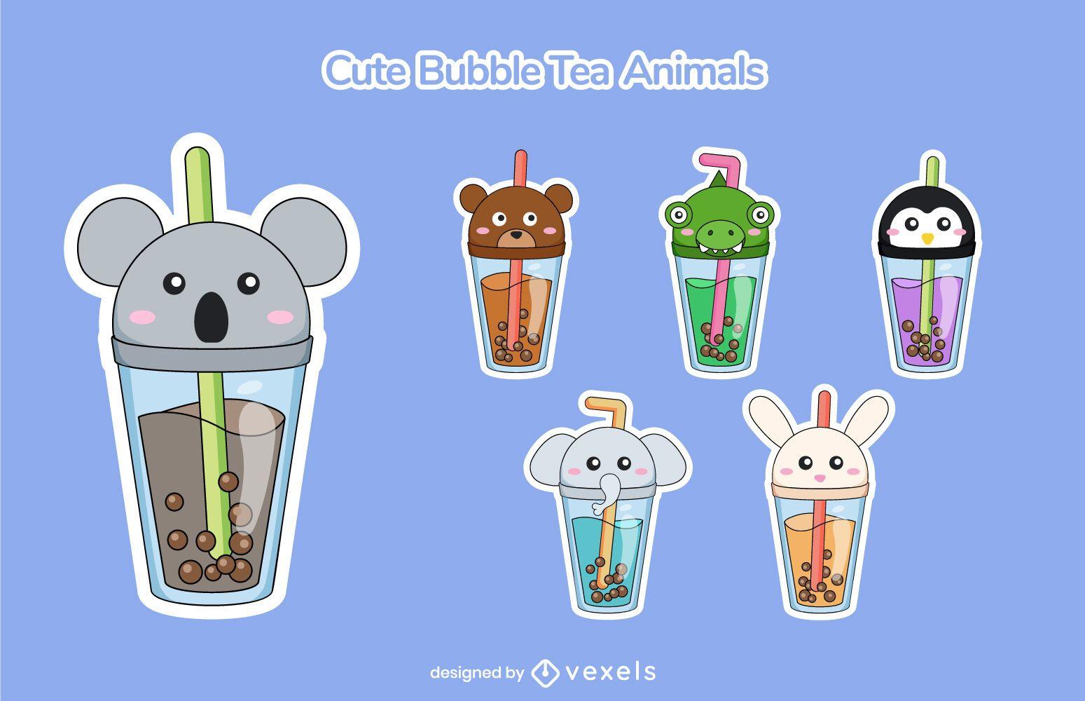 Cute animal bubble tea set