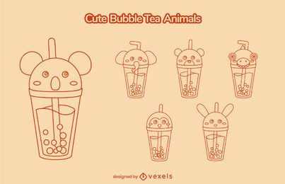 Cute animal bubble tea stroke set