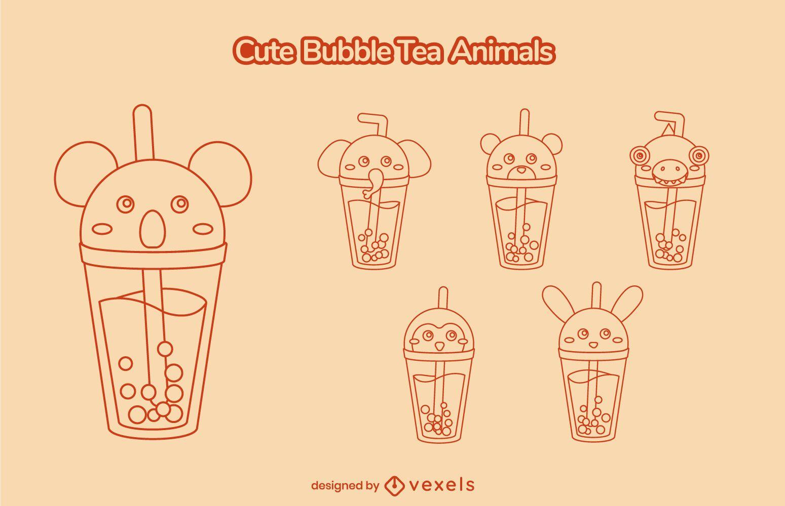Lindo juego de trazos de té de burbujas de animales