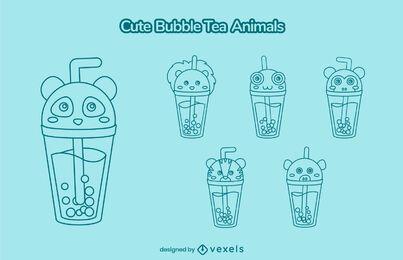 Lindo juego de trazos de taza animal de té de burbujas