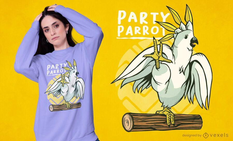 Diseño de camiseta de pájaro loro de fiesta