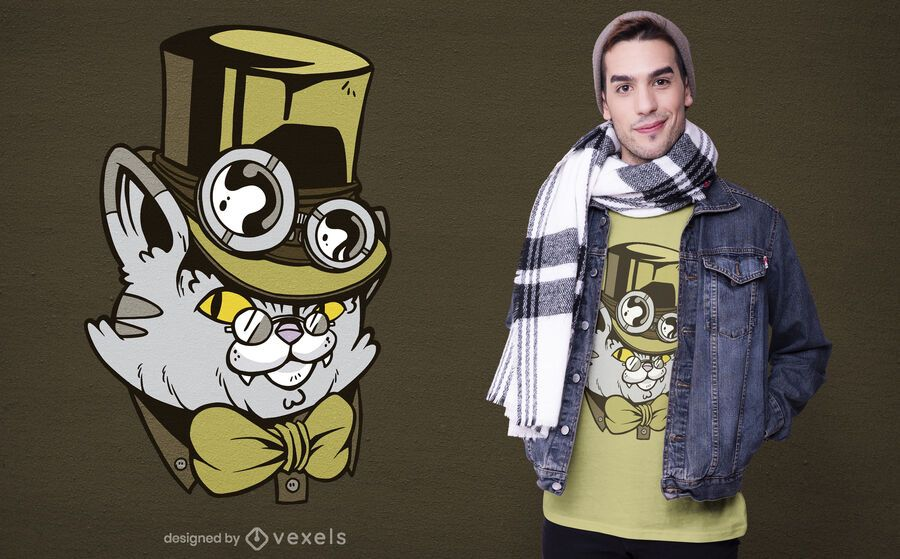 Steampunk cat character t-shirt design