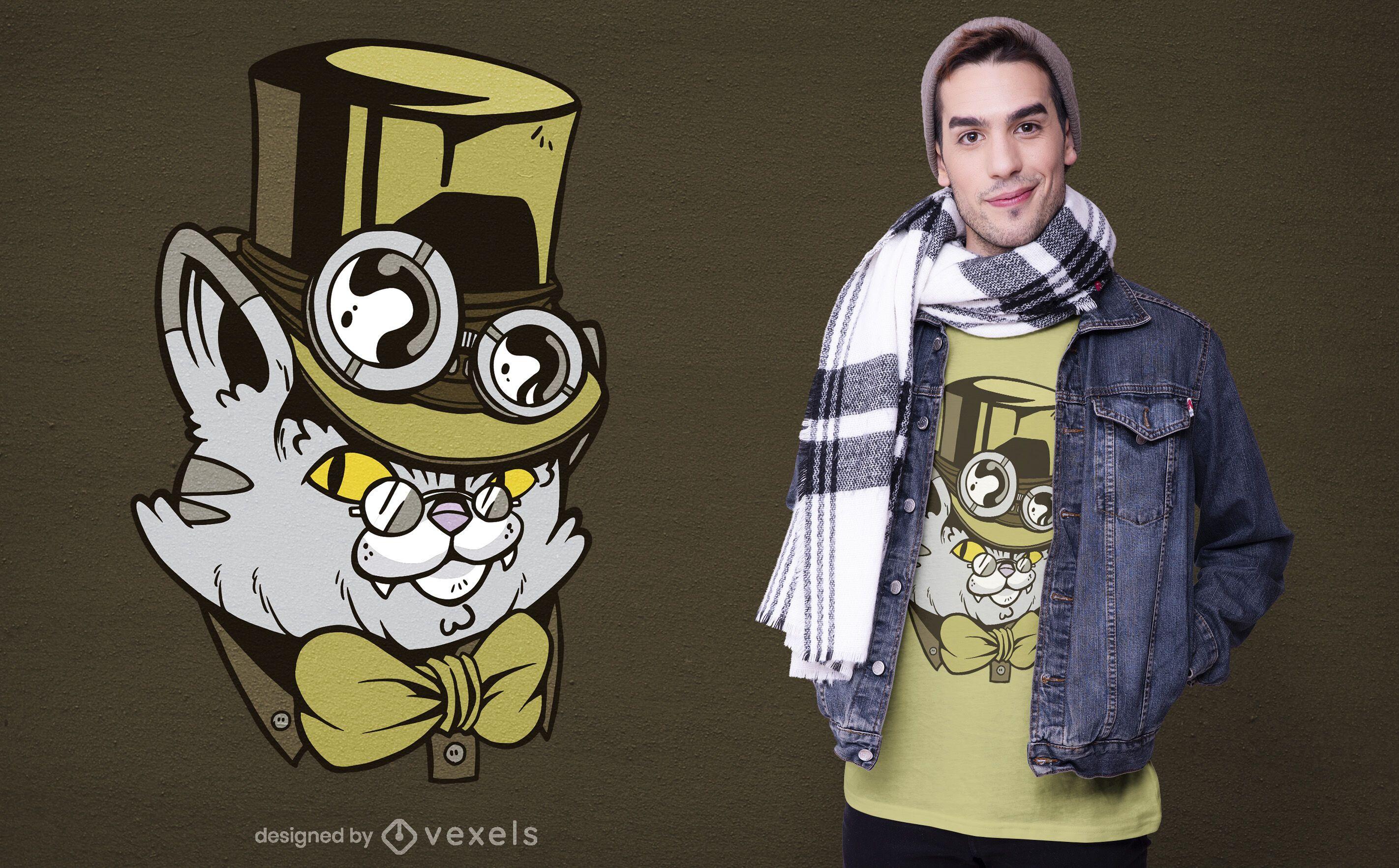 Diseño de camiseta de personaje de gato Steampunk.