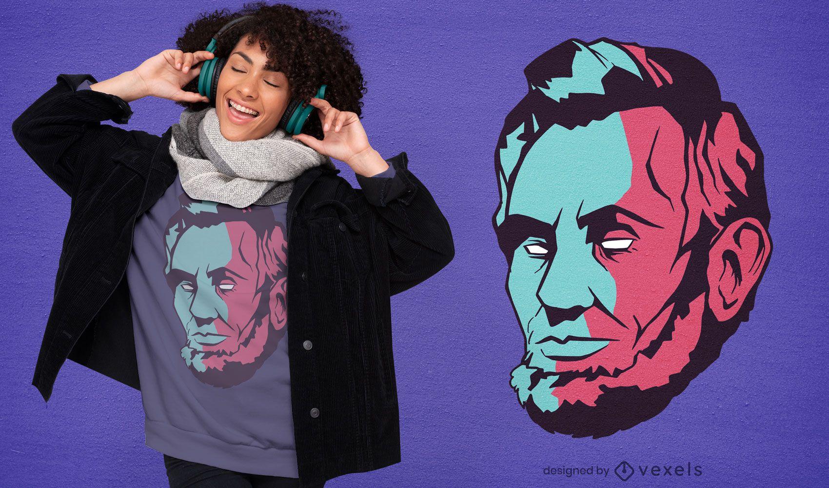 Lincoln head duotone t-shirt design