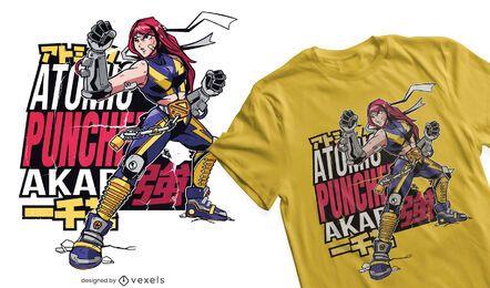 Design de camisetas de anime para meninas