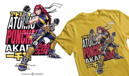 Diseño de camiseta de anime fight girl