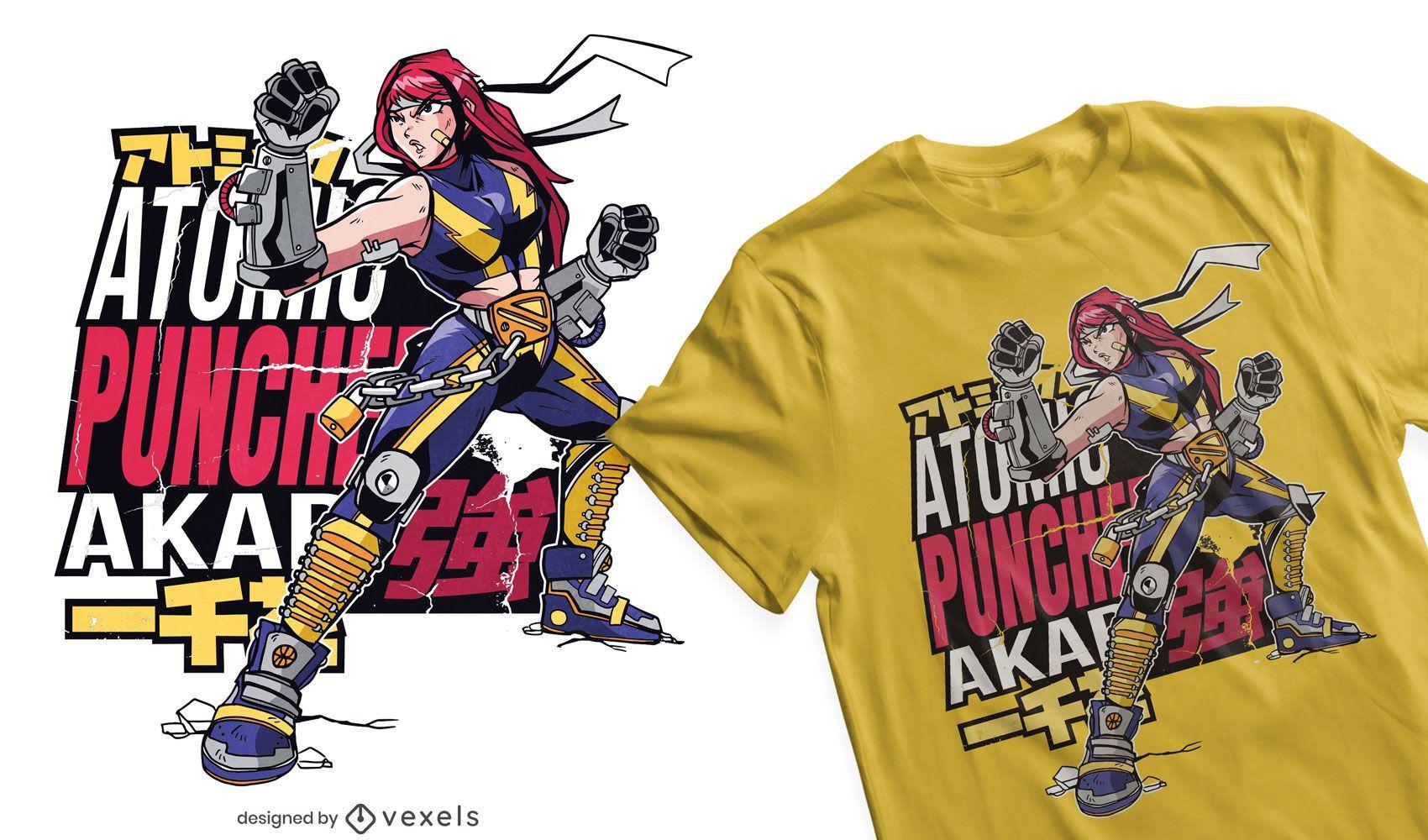 Anime fight girl t-shirt design