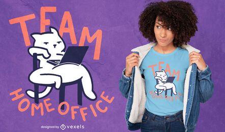 Design de t-shirt de gato para escritório em casa da equipe