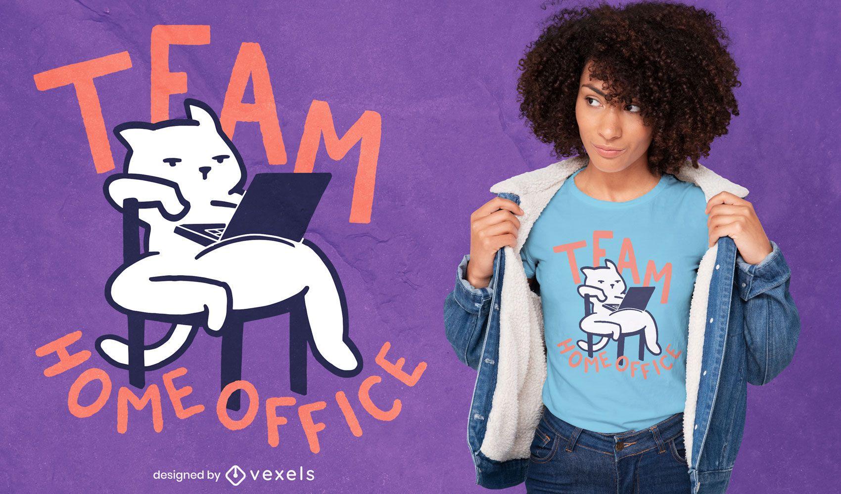 Diseño de camiseta de gato de la oficina en casa del equipo