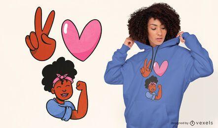 Diseño de camiseta de mujer negra de paz amor melanina.