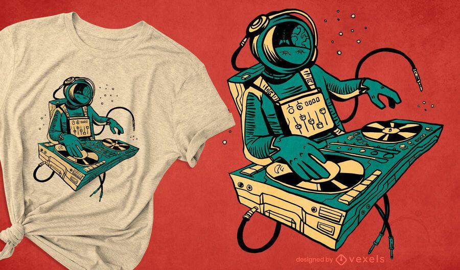 Diseño de camiseta de astronauta DJing space.
