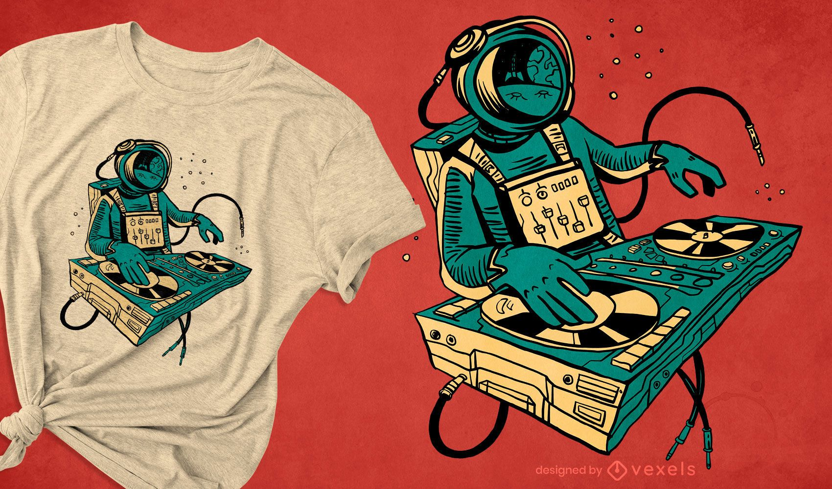 Astronaut DJing space t-shirt design