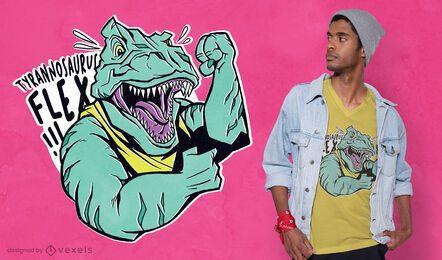 Design de camiseta flexível de tiranossauro muscular