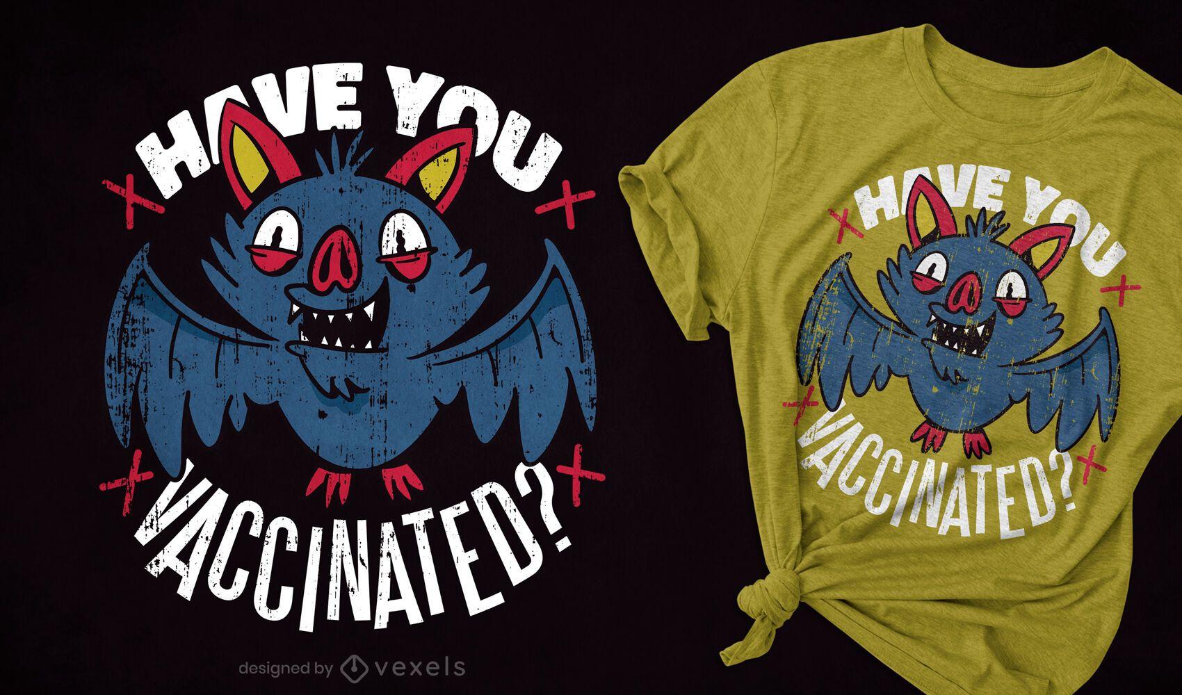 Diseño de camiseta de cita de murciélago de vacunación