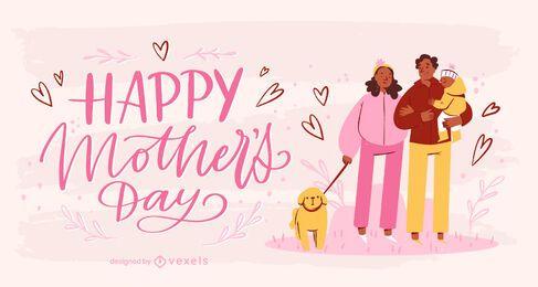 Ilustração do Dia das Mães em Família