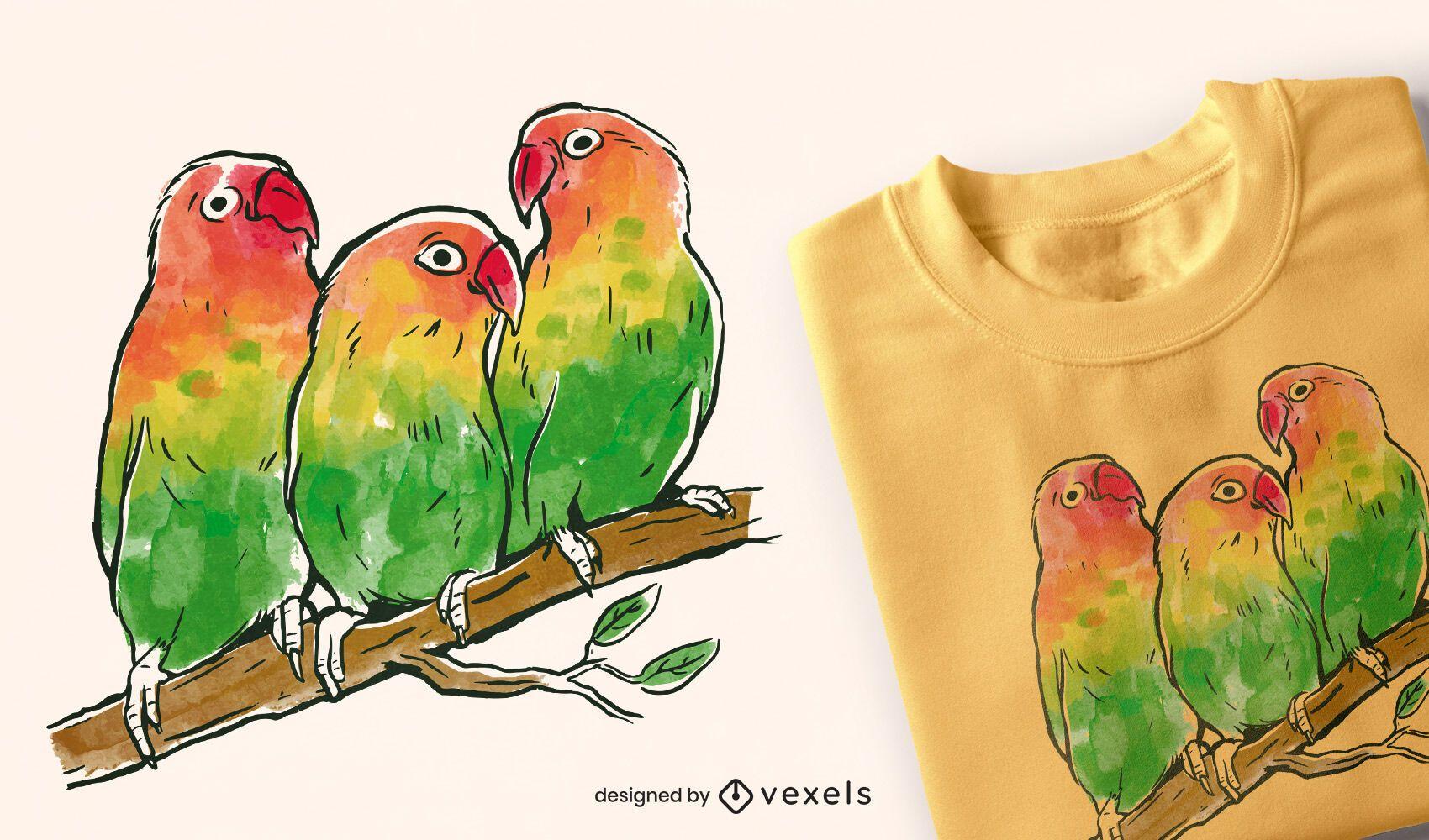 Diseño de camiseta de loros de acuarela.