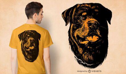 Desenho de camiseta com cabeça de cachorro desenhada à mão