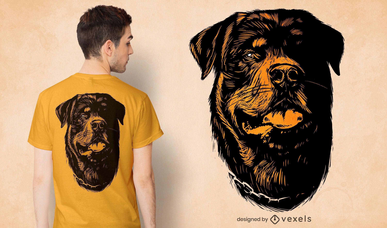 Hand gezeichnete Hundekopf-T-Shirt Design
