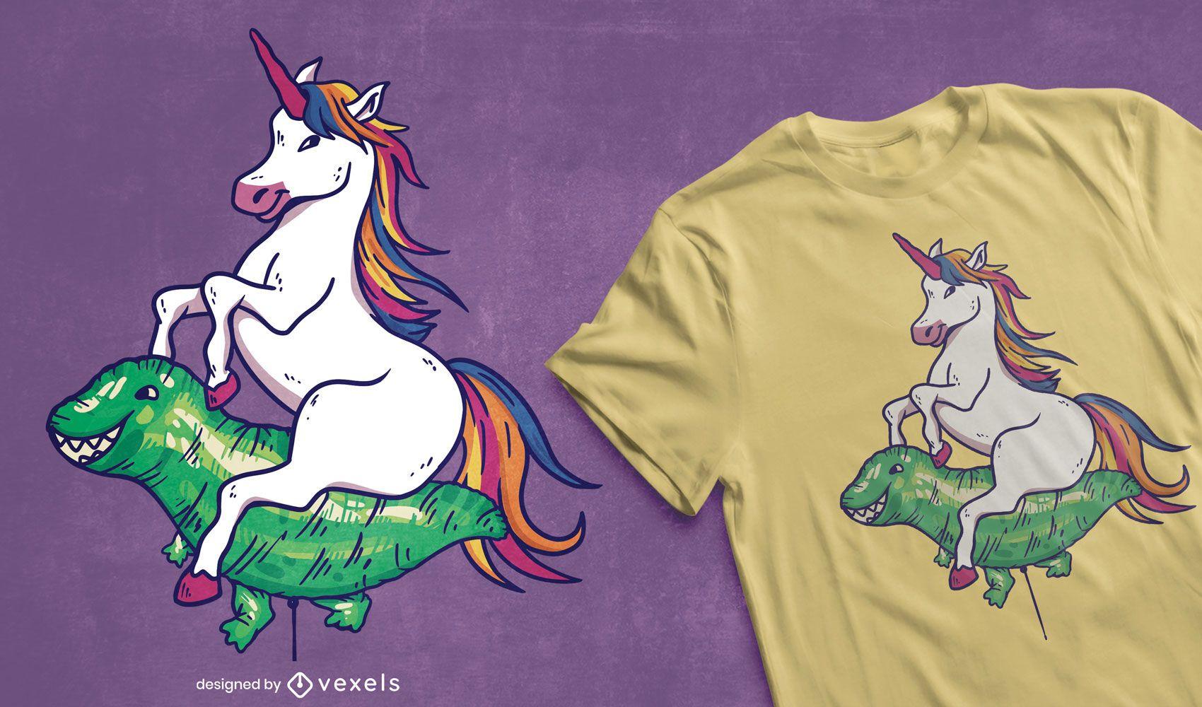 Unicorn riding balloon t-shirt design