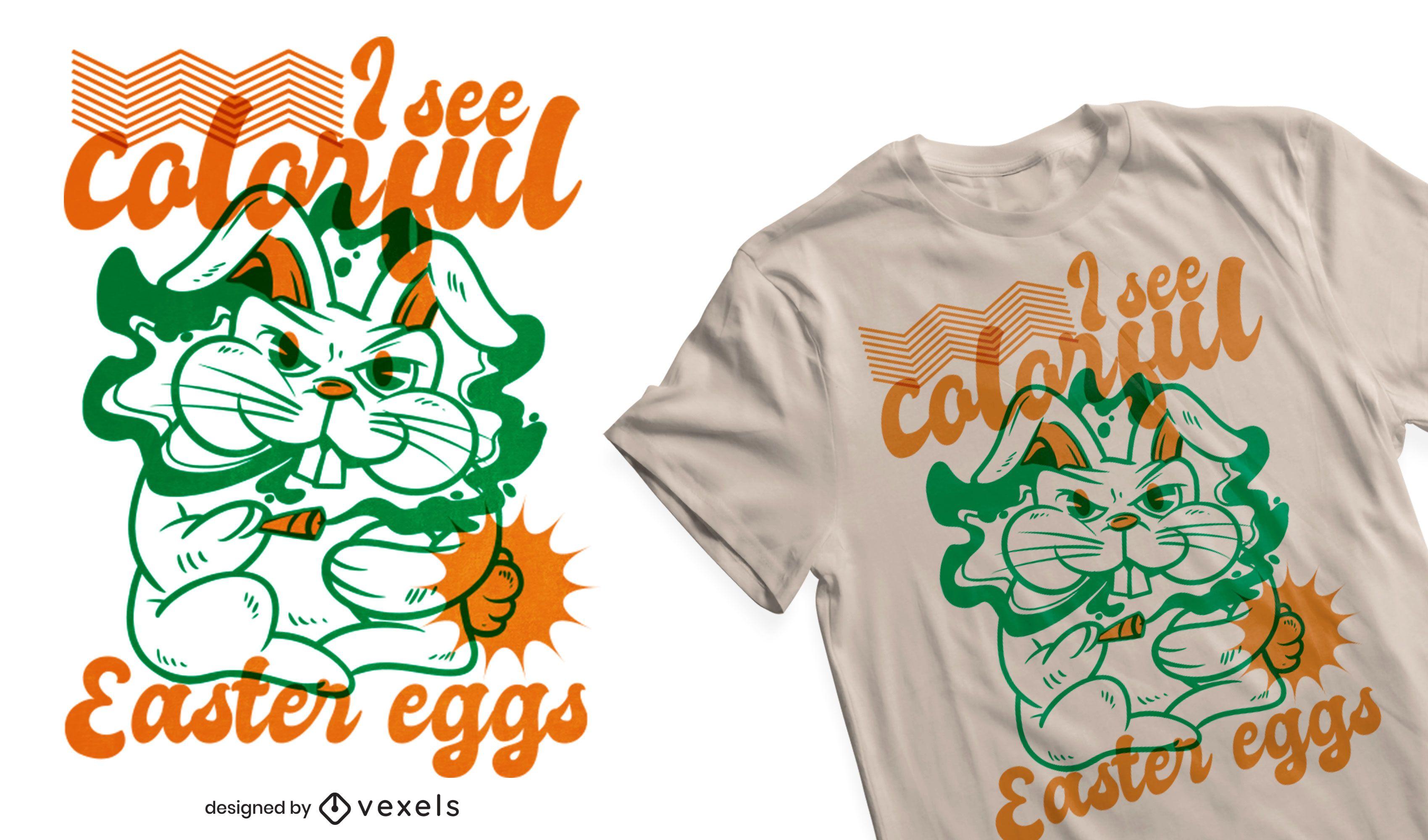 Diseño de camiseta de conejito de pascua fumando