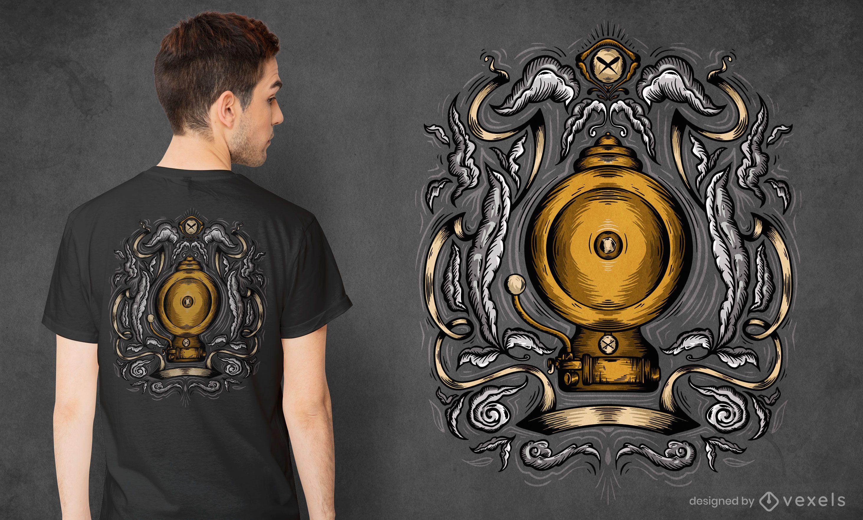 Diseño de camiseta de campana escolar.