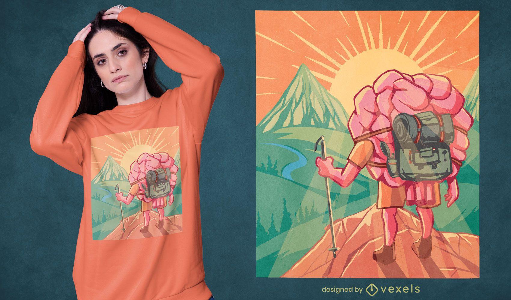 Design de t-shirt cerebral para caminhantes