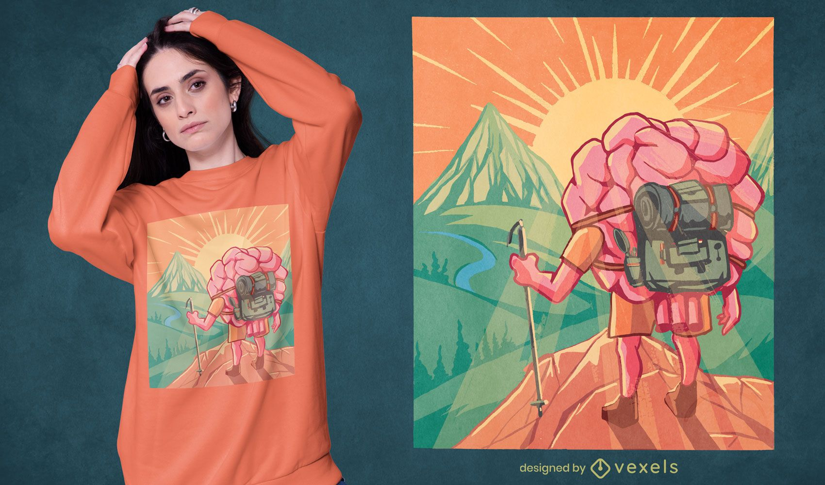 Hiker brain t-shirt design