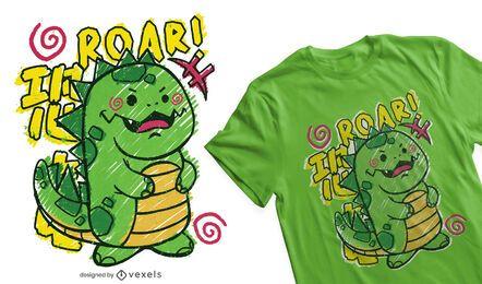 Diseño de camiseta de dinosaurio infantil doodle