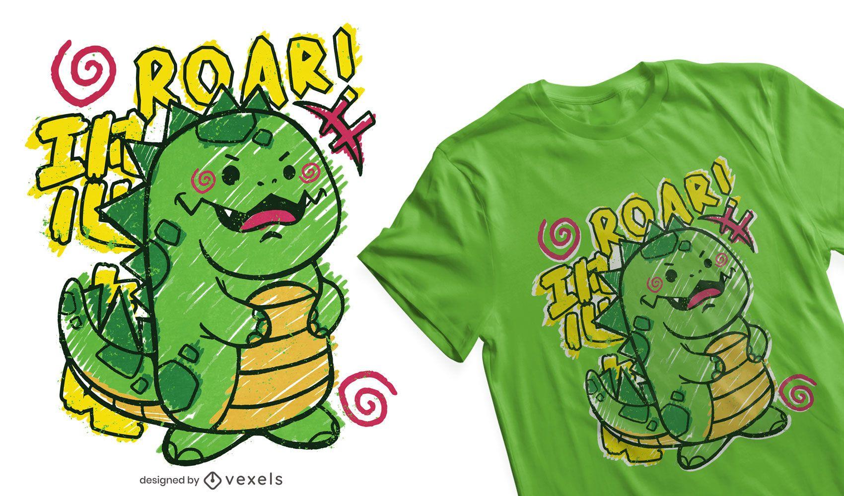 Kid doodle dinosaur t-shirt design