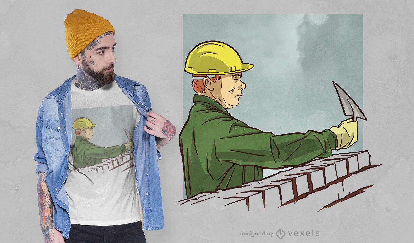 Diseño de camiseta de trabajador de construcción.