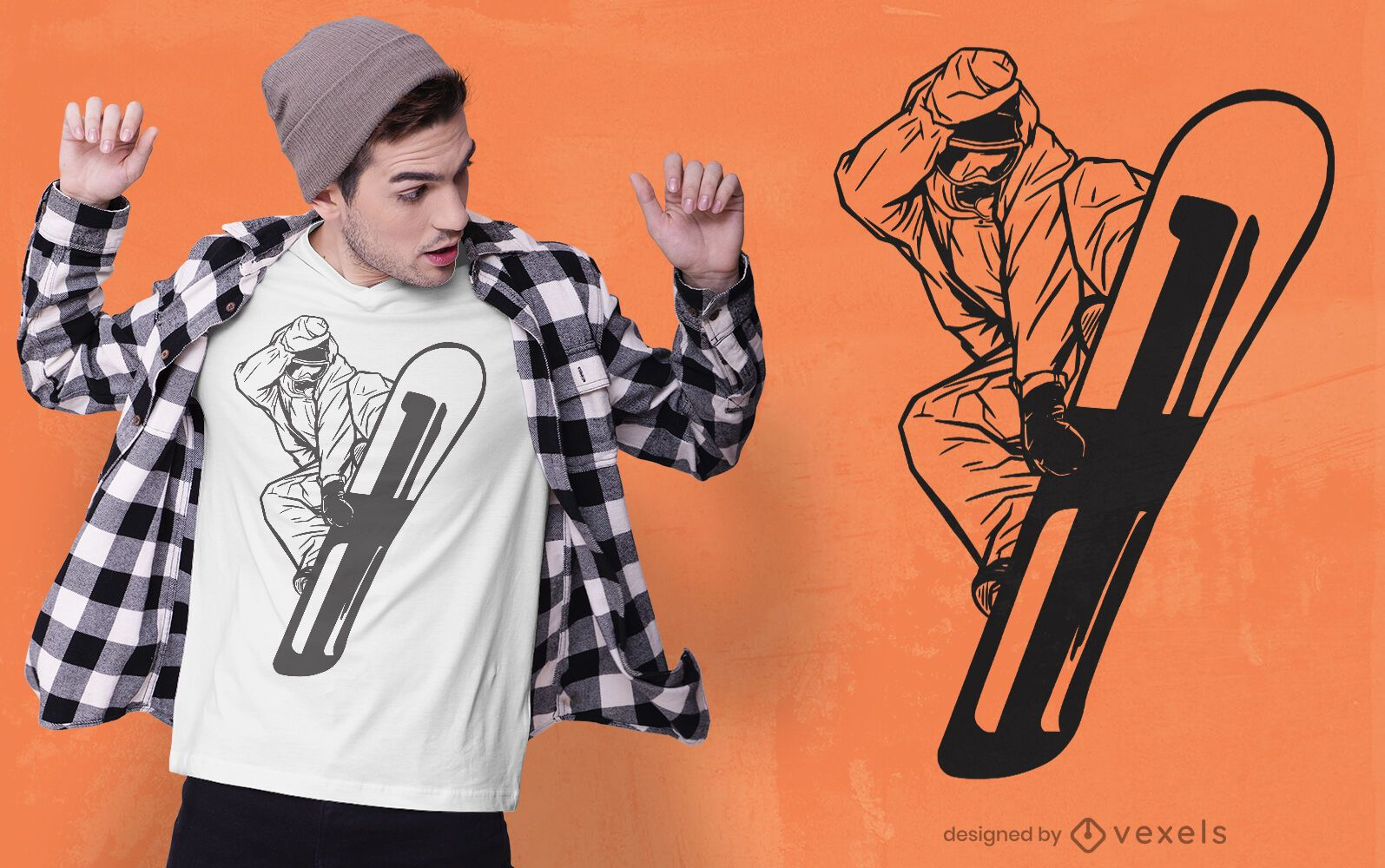 Diseño de camiseta de hombre snowboarder