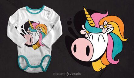 Lindo diseño de camiseta con cara de unicornio