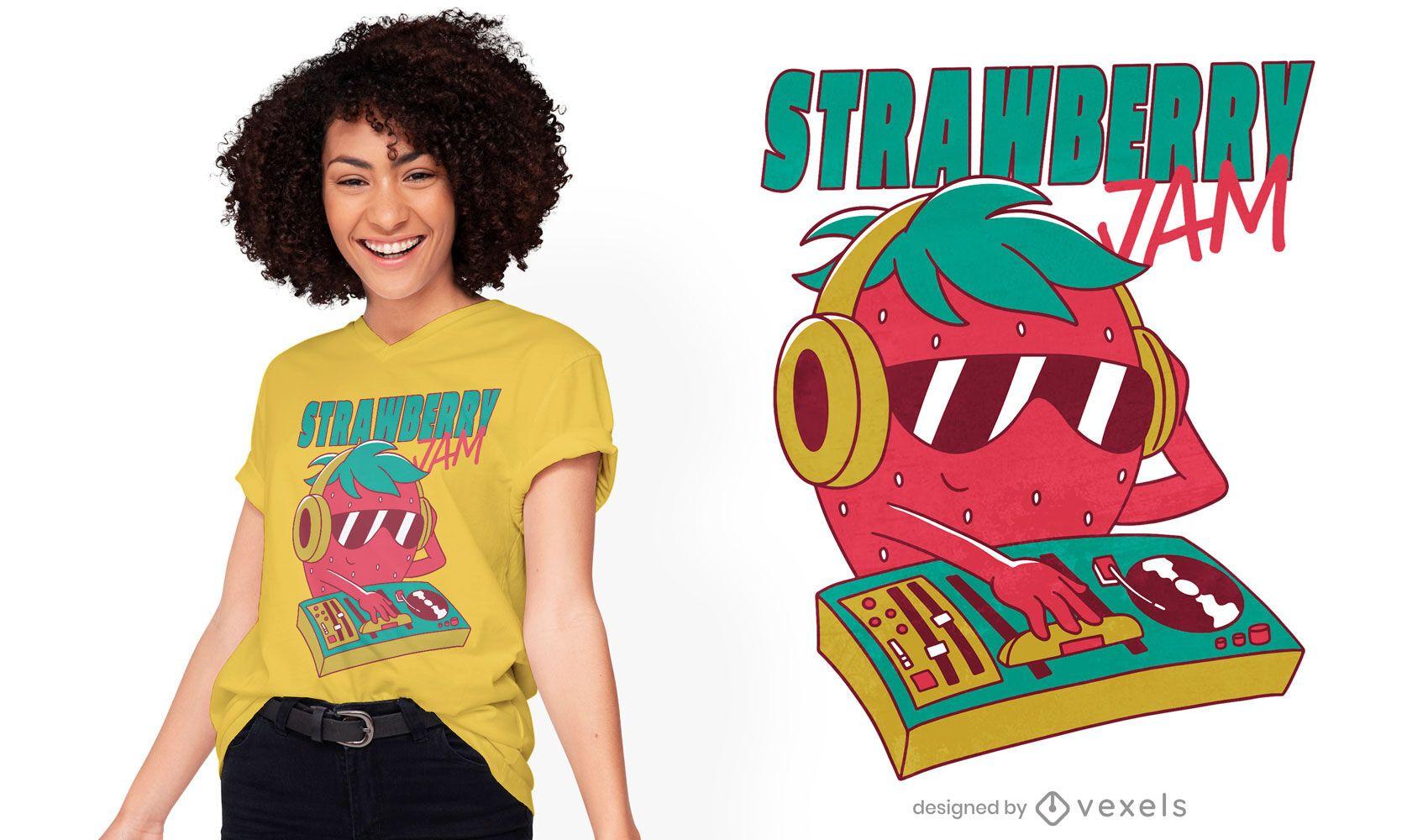 Dj strawberry t-shirt design