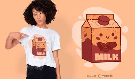 Design fofo de camiseta com leite com chocolate