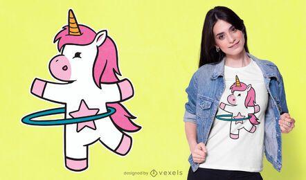 Diseño de camiseta de unicornio hula hoop