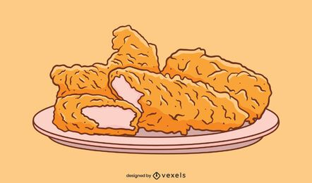 Chicken fingers plate illustration