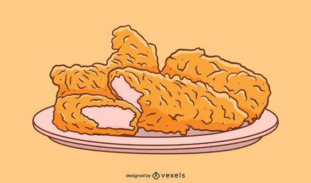 Ilustración de plato de dedos de pollo