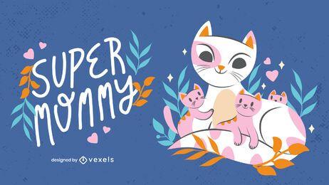 Ilustración de gatitos del día de la madre