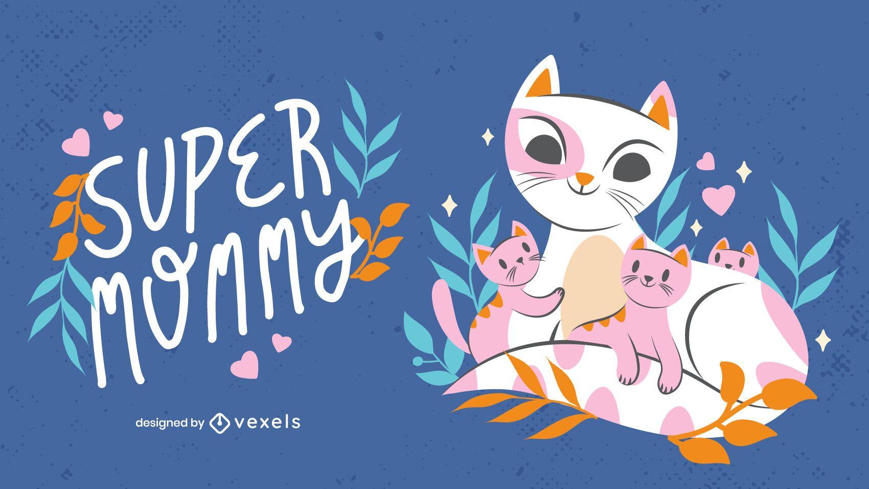 Ilustração de gatinhos para o dia das mães