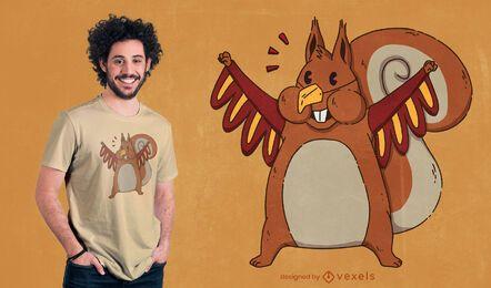 Design de camiseta com esquilo disfarçado