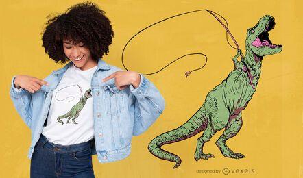 T-rex con diseño de camiseta de caña de pescar.