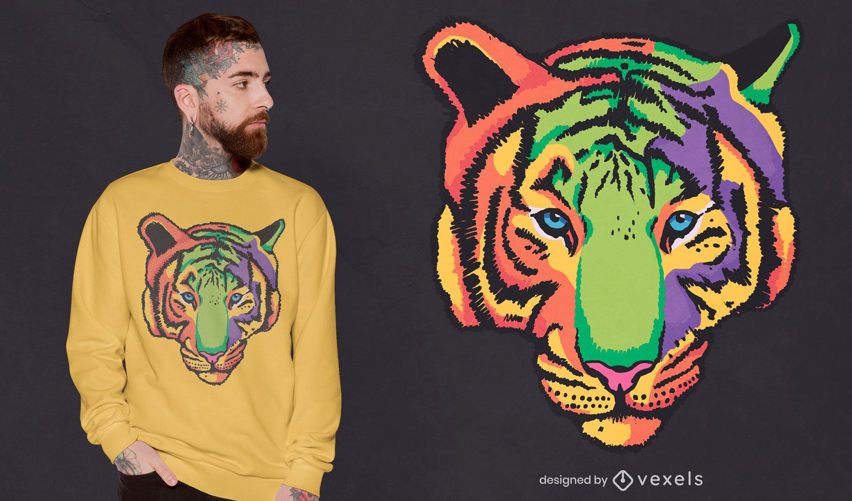 Diseño de camiseta de tigre colorido