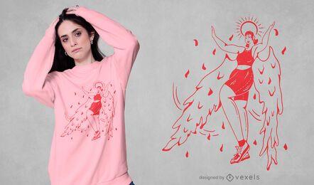 Geflügelte Frau T-Shirt Design