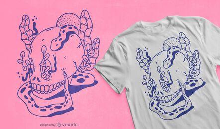 Diseño de camiseta de serpiente calavera