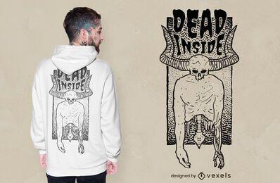 Morto dentro do design de camiseta com caveira com chifres