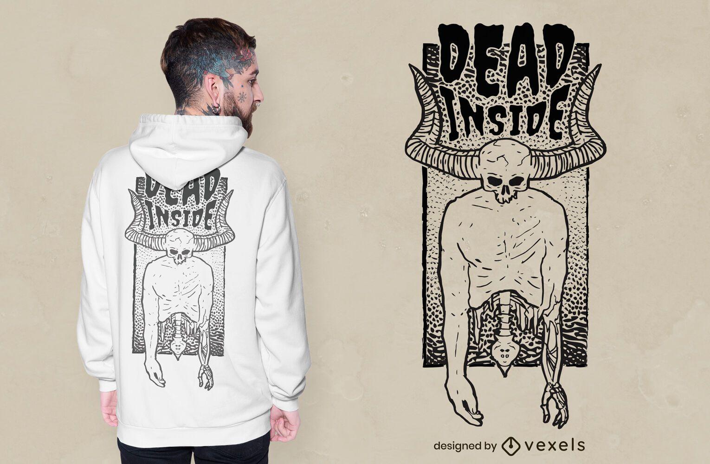 Dead inside horned skull t-shirt design