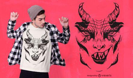 Diseño de camiseta con cara de demonio
