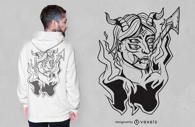 Demon on fire t-shirt design